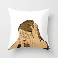 introvert Throw Pillows featuring Introvert 6 by Heidi Banford