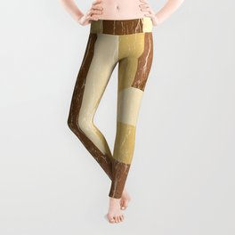 Distressed Wood Inlay Colorblock Geometric Pattern in Golden Yellow Honey Brown Leggings