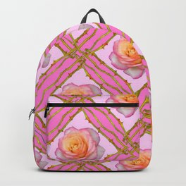 CREAMY  ROSES & RAMBLING THORNY CANES ON  PINK  DIAGONAL PATTERNS Backpack