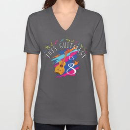 This Guitarist Is 8 Years Old Acoustic Guitar 8th Birthday graphic Unisex V-Neck