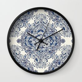 Floral Diamond Doodle in Dark Blue and Cream Wall Clock