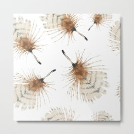Delicate Brown Feather Seamless Pattern Metal Print