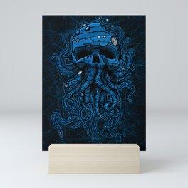 blue kraken skull Mini Art Print