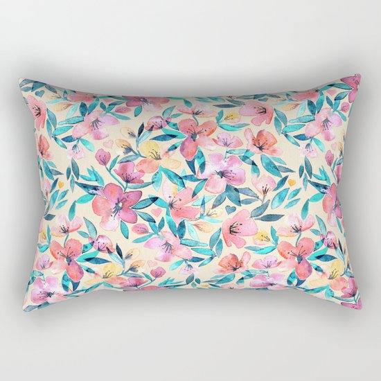 Peach Spring Floral in Watercolors Rectangular Pillow