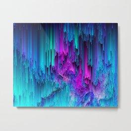 Neon Drifting - Pixel Art Metal Print