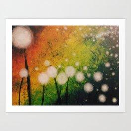 Dandelions at Night Art Print