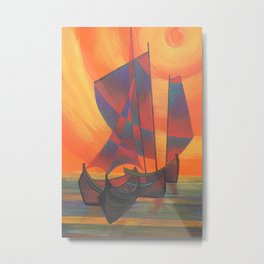 Red Sails in the Sunset Cubist Junk Abstract Metal Print