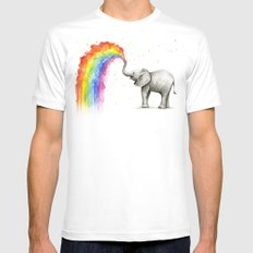Baby Elephant Spraying Rainbow Whimsical Animals LARGE White Mens Fitted Tee
