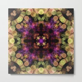 Bokeh Night Lights Mandala - Shimmering Light Flower Metal Print