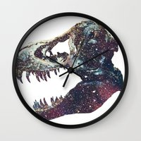 trex Wall Clocks featuring Galaxy trex by Fallen amongst the wolves
