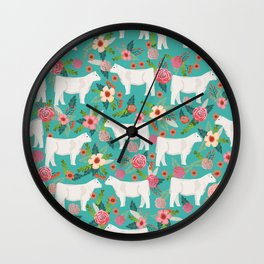 Charolais cattle farm must have gifts homesteader cow breeds florals Wall Clock