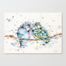 Mr & Mrs Snugglepots [pacific parrotlets] Canvas Print