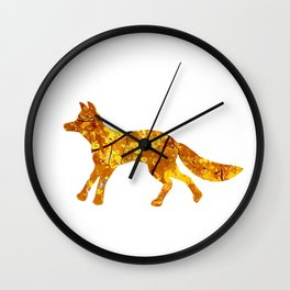 yellow maple trotting fox silhouette Wall Clock