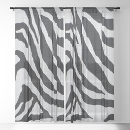 ZEBRA STRIPE PATTERN BLACK & WHITE Sheer Curtain
