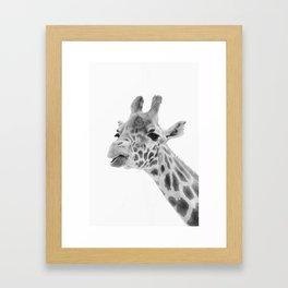 Giraffe - mono Framed Art Print