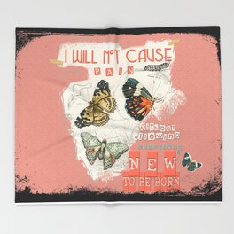 ISAIAH 66:9  Abstract Scripture Collage Art Butterflies Bible Verse Throw Blanket