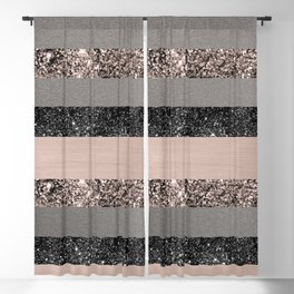 Blush Glitter Glam Stripes #1 #shiny #decor #art #society6 Blackout Curtain