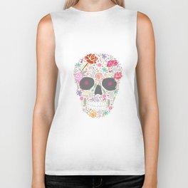 Art Skull Flower Biker Tank