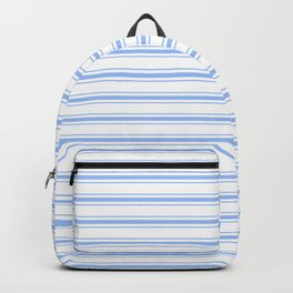 Mattress Ticking Wide Striped Pattern in Pale Blue and White Backpack