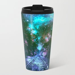 train tracks Next Stop Anywhere bright Travel Mug