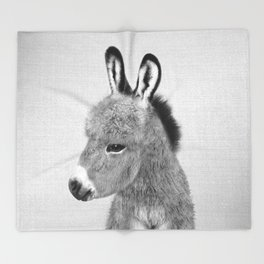 Donkey - Black & White Throw Blanket
