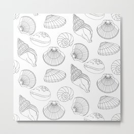 Shells in Black and White Metal Print