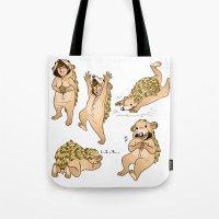 onesie Tote Bags featuring Cute Hedgehog Lou! by Plebnut