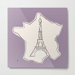France Abstract Sketch Metal Print