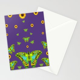 YELLOW SUNFLOWERS, GREEN MOTHS ON PURPLE Stationery Cards