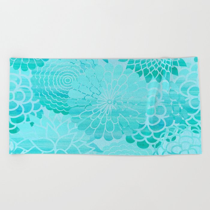 Aqua Blue Floral Flower pattern- Turquoise Abstract Flowers on #Society6 Beach Towel