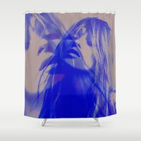 kate moss Shower Curtains featuring double Kate blues (kate moss) by Kiki collagist