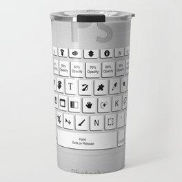 Photoshop Keyboard Shortcuts Brushed Metal  Travel Mug