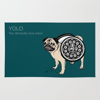yolo Area & Throw Rugs featuring YOLO by Huebucket