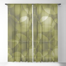 Dark intersecting translucent olive circles in bright colors with an oily glow. Sheer Curtain