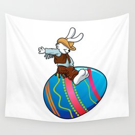 cowboy bunny riding a easter egg Wall Tapestry
