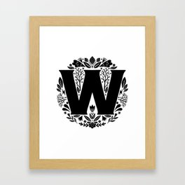Letter W monogram wildwood Framed Art Print