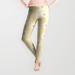 White Daisies Yellow Pattern Leggings