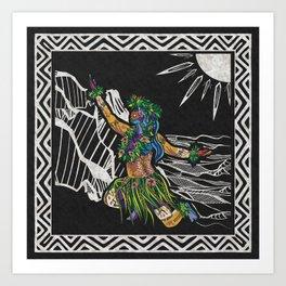 Polynesian Hula Dancer Tapa Print Art Print