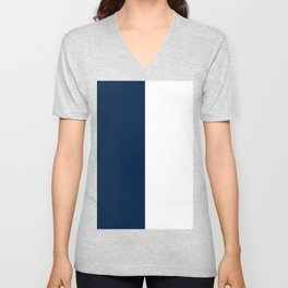 White and Oxford Blue Vertical Halves Unisex V-Neck