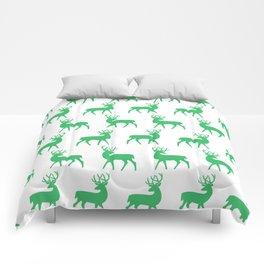 Mid Century Modern Deer Pattern Green 3 Comforters