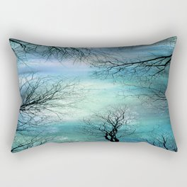 Black Trees Aqua Teal Blue Sky Rectangular Pillow