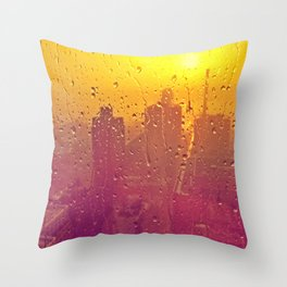 NYC Rain Throw Pillow