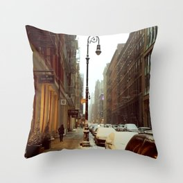 Soho snowing. Winter in New York Throw Pillow