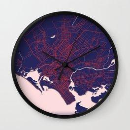 Karachi, Pakistan, Blue, White, City, Map Wall Clock