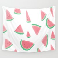 watermelon Wall Tapestries featuring WATERMELON by Greenteaelf