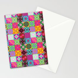 Bohemian Jungle Quilt Tiles Stationery Cards