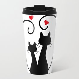 Silhuette Two Cats n' Hearts Travel Mug
