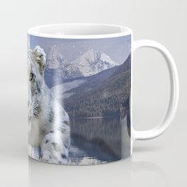 Snow Leopard and Moon Coffee Mug