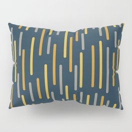 Mid-Century Modern Line Dance Pattern in Light and Dark Mustard, Gray, and Navy Blue Pillow Sham