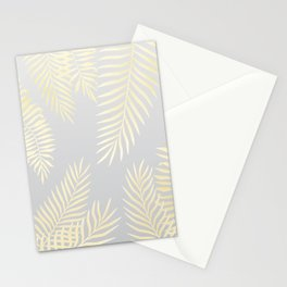 Gold palm leaves on grey Stationery Cards